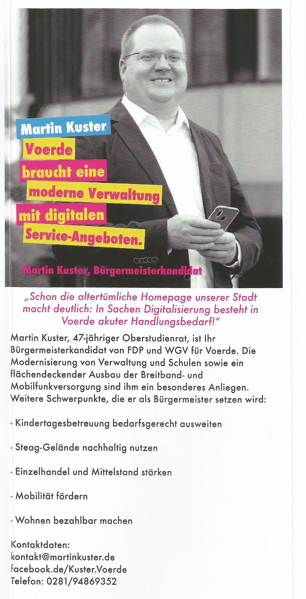 Flyer FDP Bürgermeisterkandidat Kuster